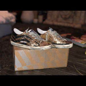 Golden Goose Superstar Sneakers Gold Glitter Flag